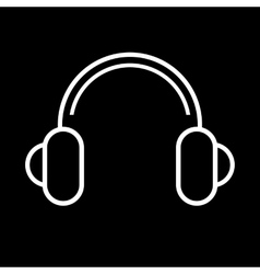 Headphones icon on black vector