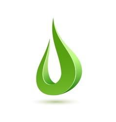 Abstract green drop icon vector