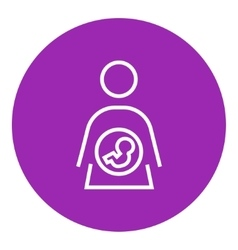 Baby fetus in mother womb line icon vector