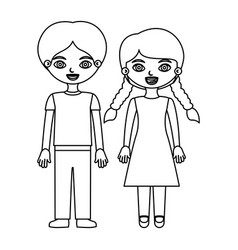 Black contour couple boy with pants and girl with vector
