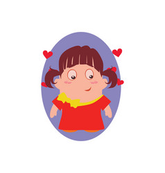 Blushing and smiling funny avatar of little vector