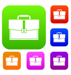 business briefcase set color collection vector image