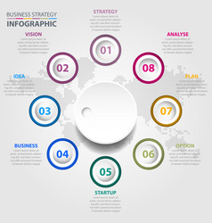 Business infographics global strategy design vector