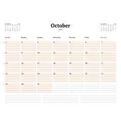Calendar template for 2017 year october business vector