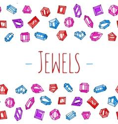 Cartoon jewels background vector image vector image