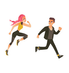 cartoon ranaway people set vector image