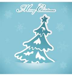 christmas sticker with tree vector image