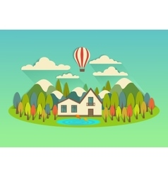 city on the island with balloon vector image vector image