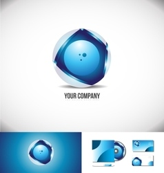 Corporate business circle 3d logo sphere blue vector