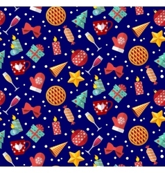 Cute christmas seamless pattern Flat designed vector image vector image