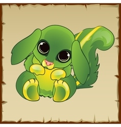 Cute green pussy with long ears vector