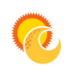 cute moon with sun vector image vector image