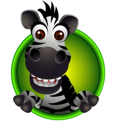 cute zebra head cartoon vector image vector image