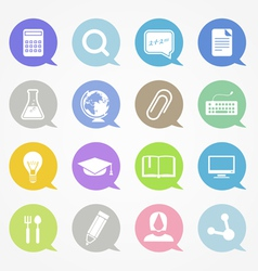 Education web icons set in color speech clouds vector image