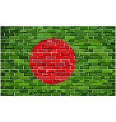 Flag of bangladesh on a brick wall vector