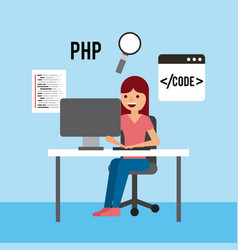 Girl sitting working laptop program code php vector