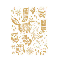 gold art collection of animals and winter elements vector image vector image