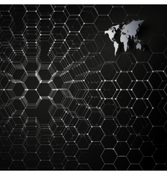 Gray world map connecting lines and dots on black vector image vector image