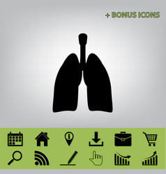 Human anatomy lungs sign black icon at vector