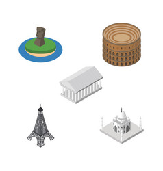 isometric architecture set of athens paris india vector image