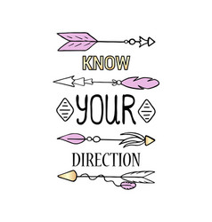 know your direction poster vertical print vector image vector image