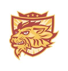 Lion mascot head shield vector