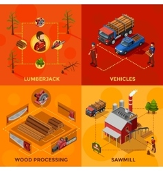 Lumberjack 2x2 isometric design concept vector