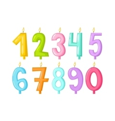 Numbers candles isolated vector