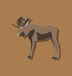 Paper sticker on stylish background elk vector