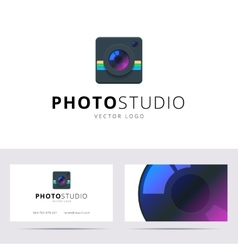 Photo studio logo and business card template vector image