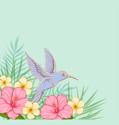 Pink flowers and flying bird vector