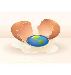 Save the world theme with cracking egg vector