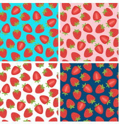 set of seamless pattern with strawberry vector image vector image