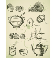 set of vintage hand drawn tea icons vector image vector image