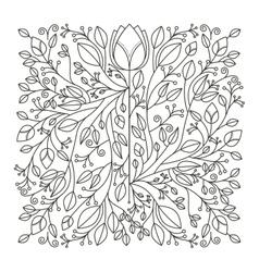 Silhouette decorative ornament floral design vector