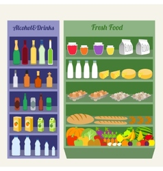 Supermarket shelves flat vector