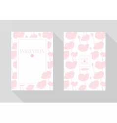 Floral wedding invitation template pink flowers vector