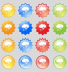 Weather icon sign Big set of 16 colorful modern vector image
