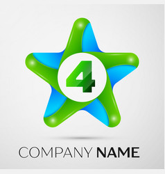 number four logo symbol in the colorful star on vector image