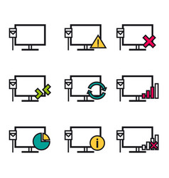 Nine line icons - computer connection vector