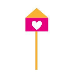 bird house with heart vector image