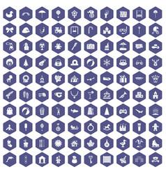 100 happy childhood icons hexagon purple vector