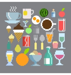 Pixel art style food and drink set vector