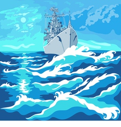 Seascape with a warship vector