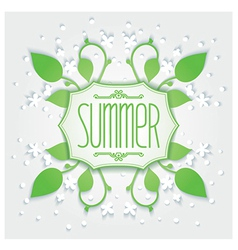 Summer floral badge vector