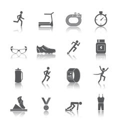 Running icons set vector