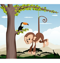 Monkey and a bird in a tree vector