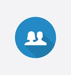 Male female flat blue simple icon with long shadow vector