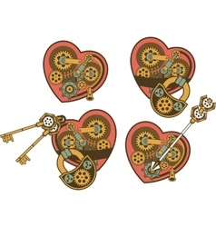 Steampunk mechanism heart vector