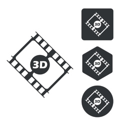 3d movie icon set monochrome vector